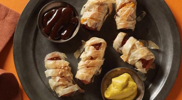 Phyllo Wrapped Hot Dog Mummies #Halloween #Recipe
