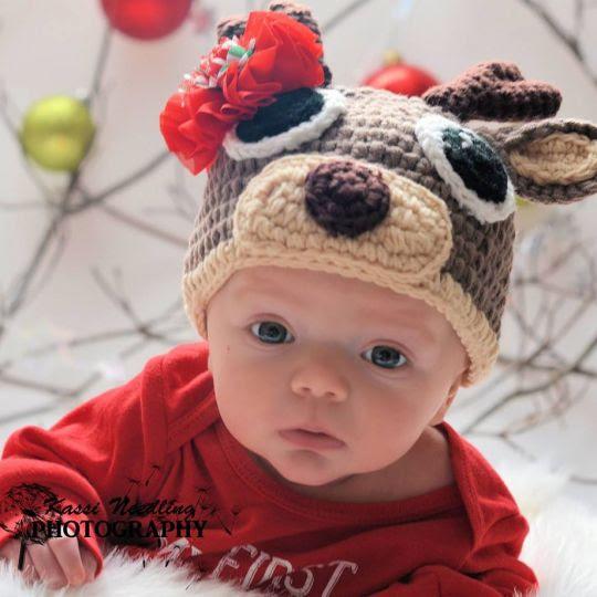 reindeer holiday crochet hat