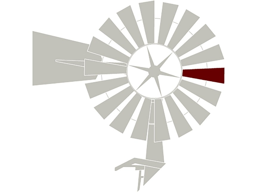 A logo of a gray weather vane with one maroon spoke.