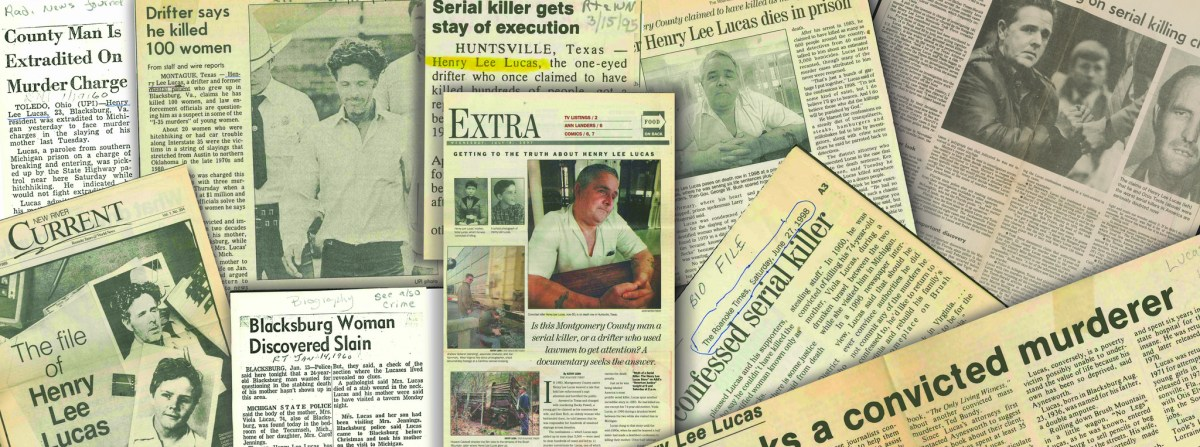 Illustration of newspaper pages laying on top of each other, with various headlines about famed serial killer Henry Lee Lucas.