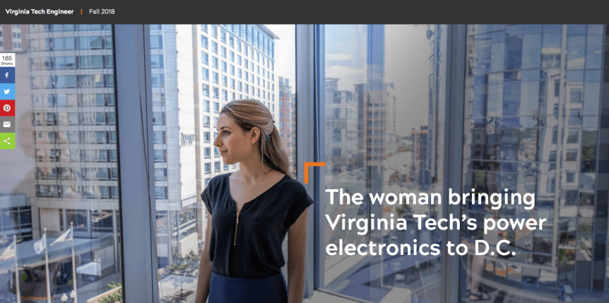 "Screenshot of photo of a woman stands in front of a window. Behind her stand tall buildings with large glass windows in a modern cityscape. The words ""The woman bringing Virginia Tech's power electronics to D.C."" are written over the image."