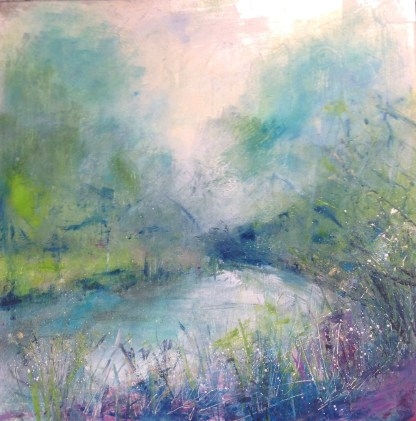 Thames Path near Henley, cold wax and oil paint on silver leaf