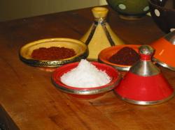 Aleppo pepper, sea salt, and Turkish pepper.