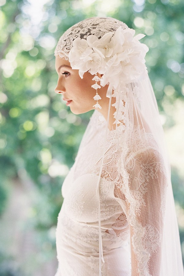 MANON LACE SILK JULIET BRIDAL CAP