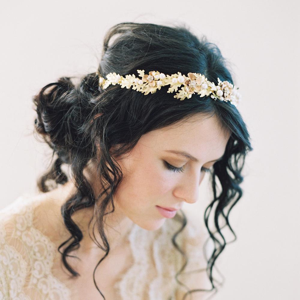 Golden Crown Oak Leaf Crown Goddess Leaf Crown Wedding