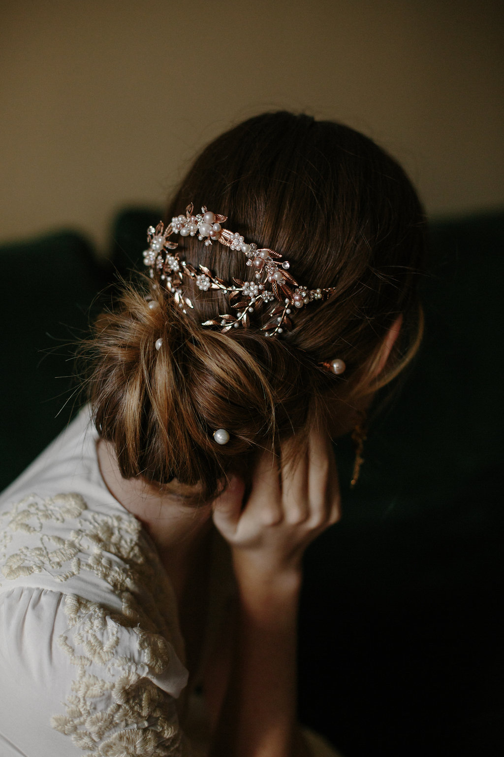 bridal hair accessory, wedding headpiece, mantilla comb, back
