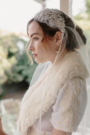 STARDUST LACE JULIET BRIDAL CAP