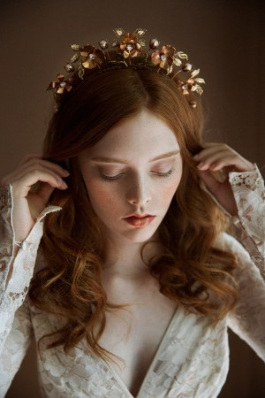 Rose of Sharom floral wedding crown