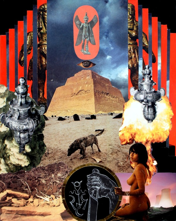 Pazuzu riding above the desert with bones and stray dogs. A sigil and a knife.