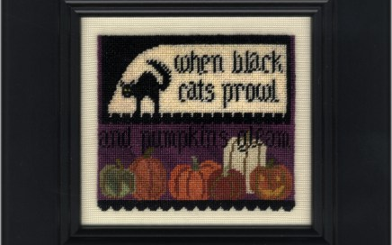 Cats & Pumpkins on silk gauze | Original counted thread designs by Linda Stolz for Erica Michaels Designs | EricaMichaels.com