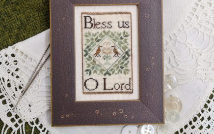 Bless Us O Lord on silk gauze | Original counted thread designs by Linda Stolz for Erica Michaels Designs | EricaMichaels.com
