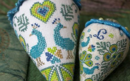 Peacock Party Berry - linen and silk | Original counted thread designs by Linda Stolz for Erica Michaels Designs | EricaMichaels.com