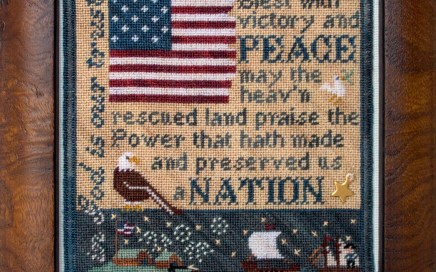 Victory & Peace on silk gauze | Original counted thread designs by Linda Stolz for Erica Michaels Designs | EricaMichaels.com