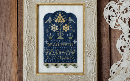 Wonderfully Made - sampler adaptation on silk gauze