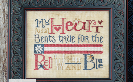 My Heart Beats True - model on 36 count linen