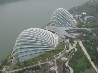 Singapore. Gardens by the Bay from the Marina Bay Sands Hotel.