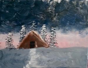 Bob Ross inspired painting In the Midst of Winter, Season 31, Episode 12 © 2018 ericarobbin.com