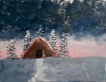 Bob Ross inspired painting In the Midst of Winter, Season 31, Episode 12 © 2018 ericarobbin.com