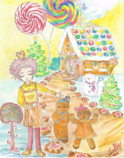 Gingerbread Cafe 1, watercolor painting, photo courtesy of SillySallyMoon
