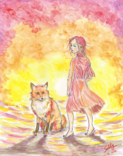 Red Fox, watercolor painting, photo courtesy of SillySallyMoon