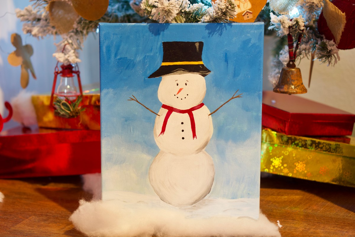 Snowman acrylic painting © 2018 ericarobbin.com | All rights reserved.