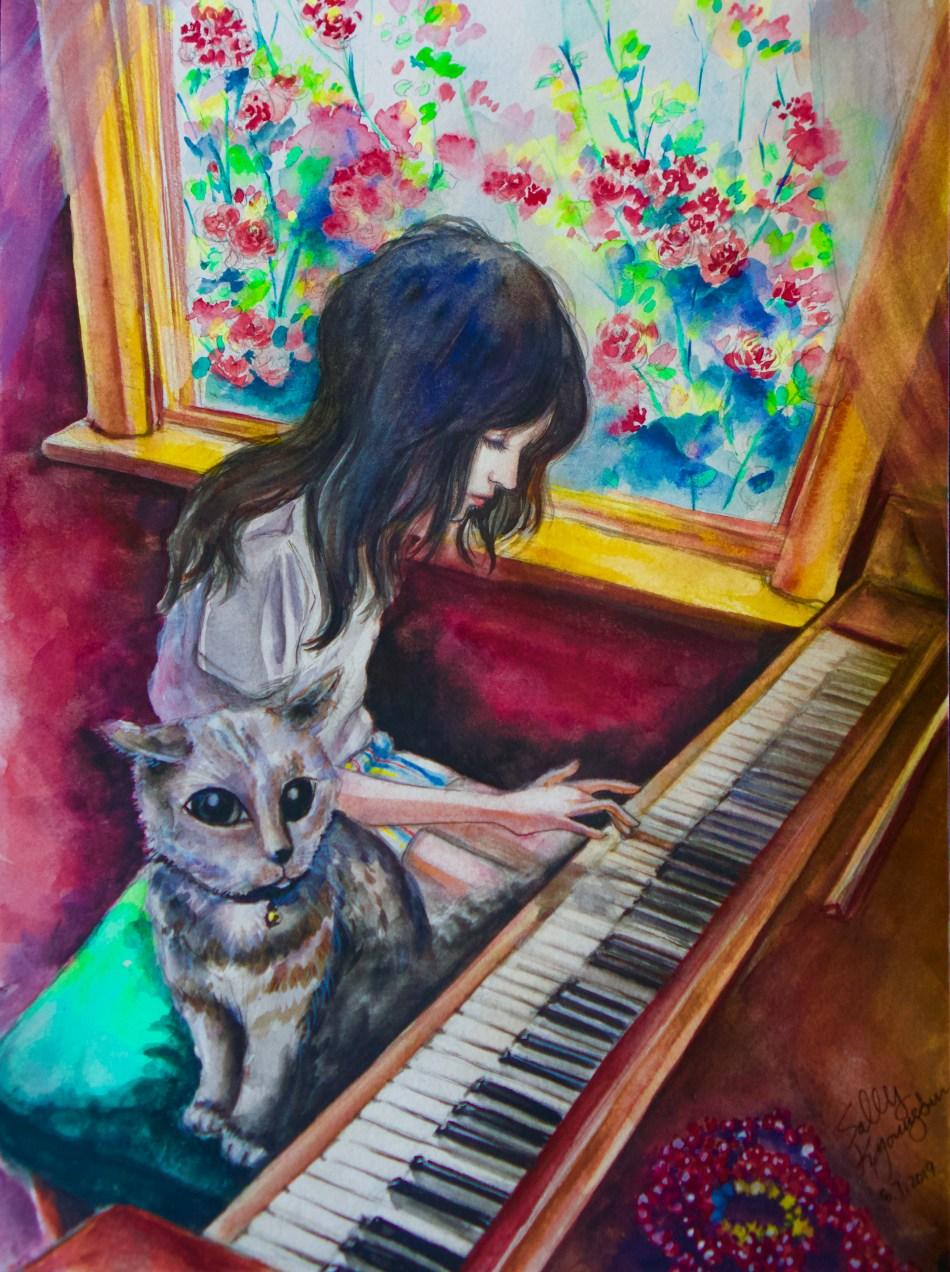 Piano Room (watercolor)   SillySallyMoon