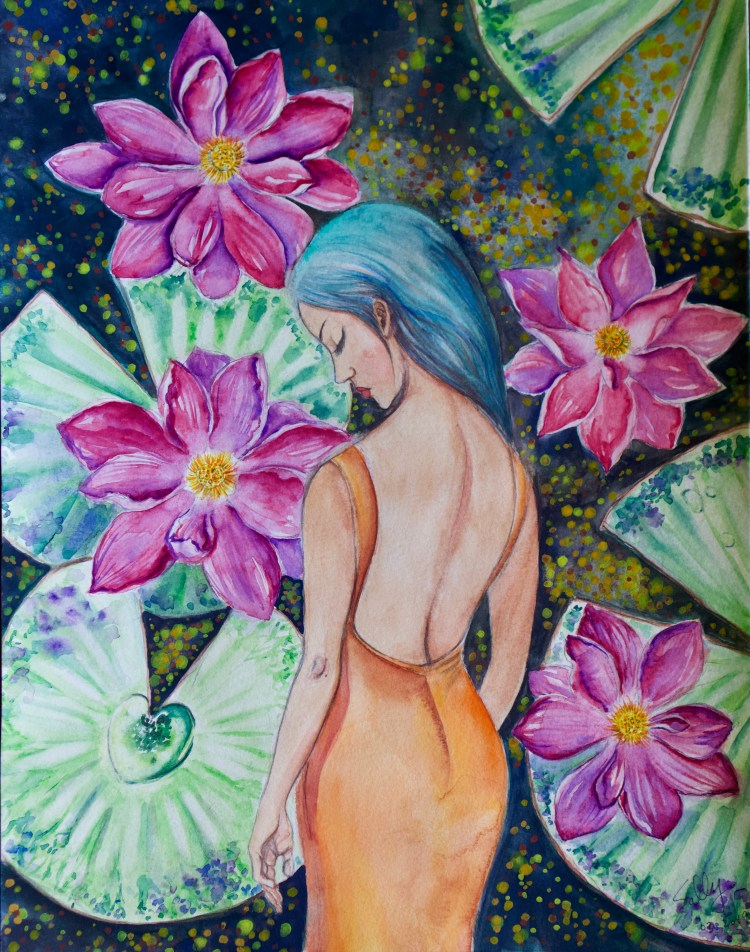 Sleeping in the Lily Pond (watercolor)   SillySallyMoon
