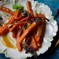 Roasted Carrots with Lavender Caramel and Toasted Hazelnuts