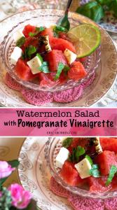 Watermelon Salad with Pomegranate Vinaigrette | Erica Robbin