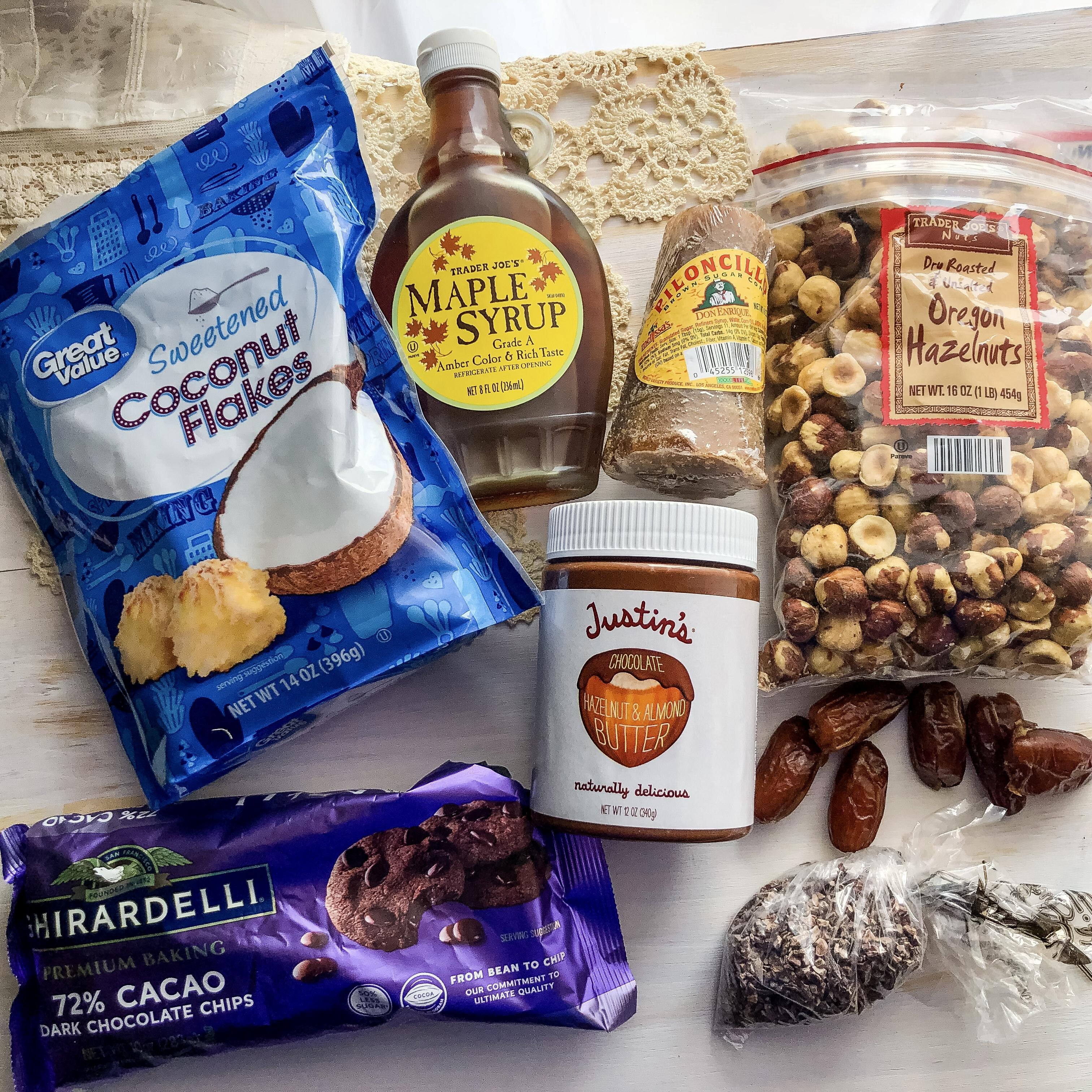 Chocolate Roasted Hazelnut No-Bake Coconut Date Balls Ingredients   Erica Robbin