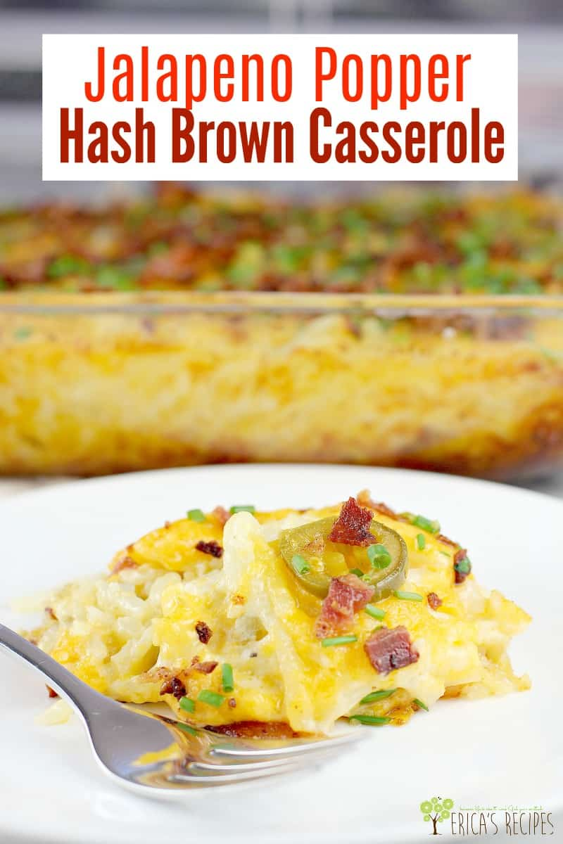 Creamy, cheesy hashbrown casserole recipe, kicked up with bacon and jalapeno. This crowd-pleasing, pot-luck perfect Jalapeno Popper Hash Brown Casserole recipe is made for sharing. #recipe #food #jalapenopopper #breakfastcasserole #potatocasserole #cheesyhashbrown #breakfast #hashbrown