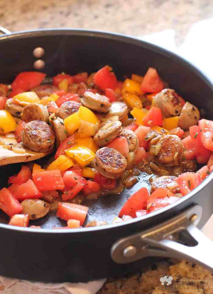 Chicken Sausage and Rosemary Spaghetti