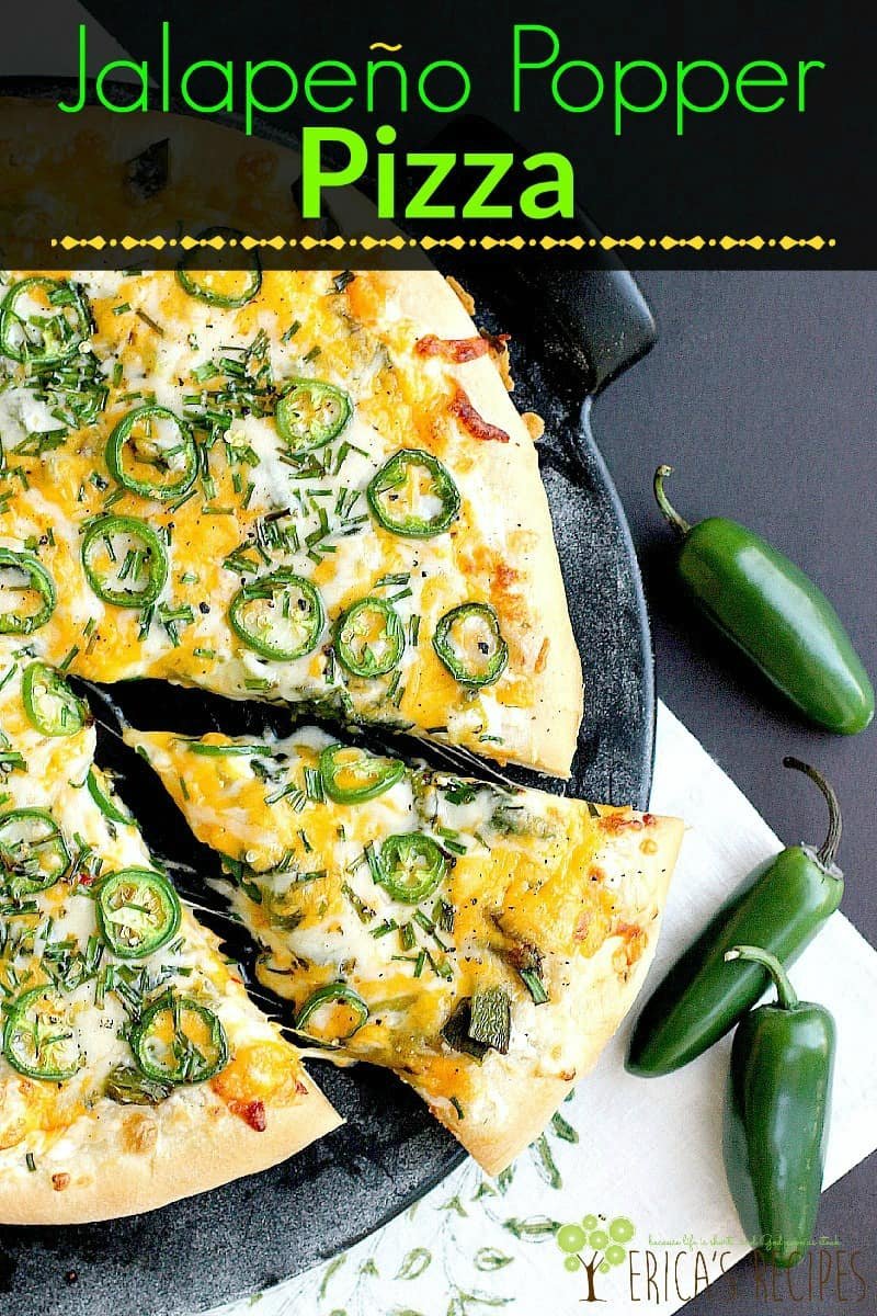 Jalapeño Popper Pizza has three different peppers and three cheeses for a new take on pizza. If you love stuffed jalapenos, you will LOVE jalapeno pizza.