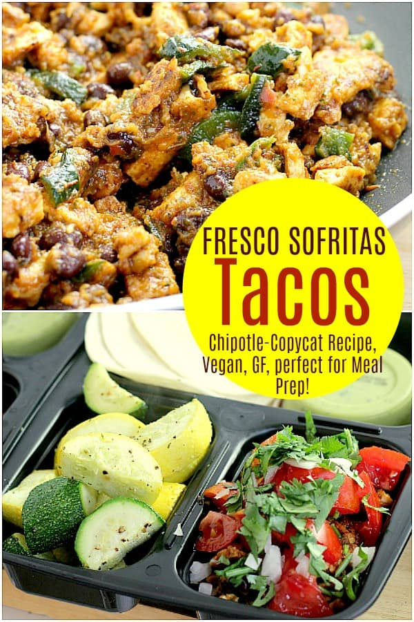 This restaurant-inspired, make-aheadVegan Fresco Sofritas Tacos lunch uses tofuas the blank canvas, then yumms it all up with an amazing sauce with roasted tomatoes and poblano pepper. The depth of flavor will satisfy you all week at lunch, in the vegan, dairy-free, gluten-free, cruelty-free, healthiest way. #food #vegan #vegetarian #mealprep #lunch #healthy #glutefree #dairyfree #copycat