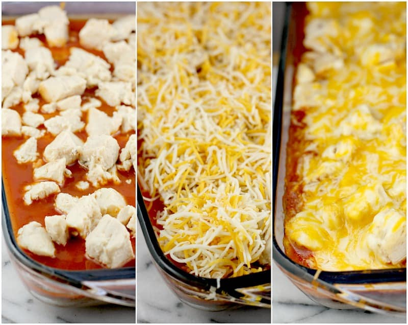 Collage of 3 photos: chicken layer on enchilada sauce; shredded cheese (not yet cooked); cooked casserole with melted cheese