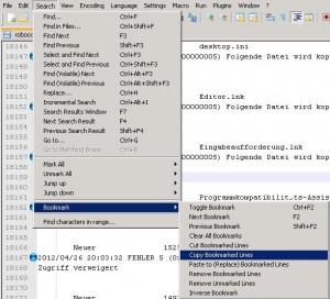 Notepad++ - Log Files filtern (3/3)