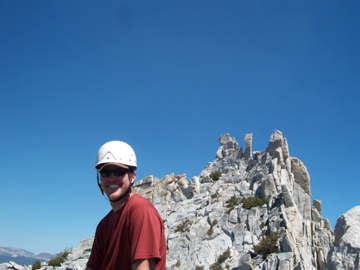 Brad on Eichorn with Cathedral in the Background (peak onleft)