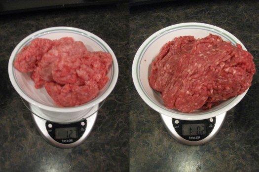 Raw weight: 73% ground beef - 12.7oz; 93% ground beef - 16.2oz