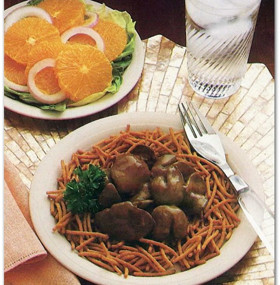 Awful Food: Chicken Livers Over Crunchy Noodles
