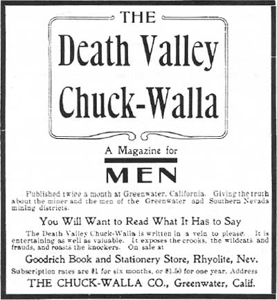 An ad for the Chuckwalla appearing in the Rhyolite Herald, February 1907