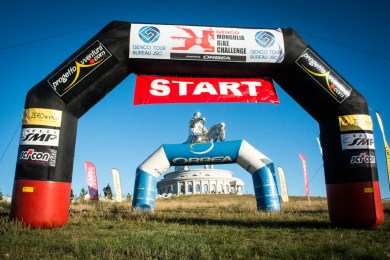 Start of the Mongolia Bike Challenge.