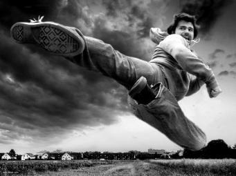 Me flying kick blackwhite
