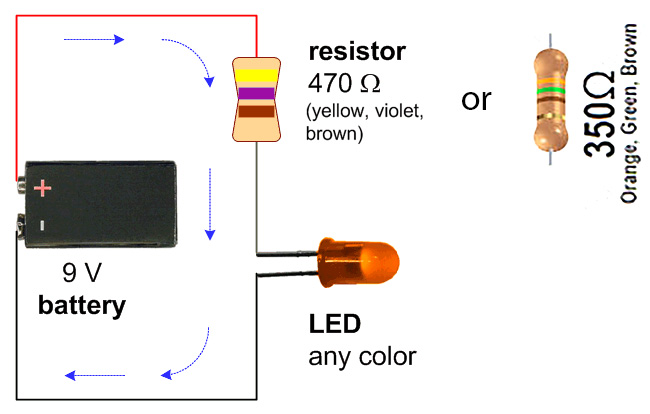 Simple LED Circuit With 9V Battery