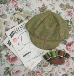 green wool tweed hat