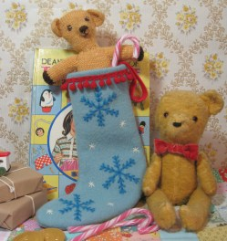 weeny blue stocking with red pom pom trim