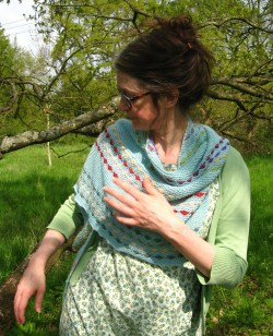 adjusting the shawl not fighting off a bee attack