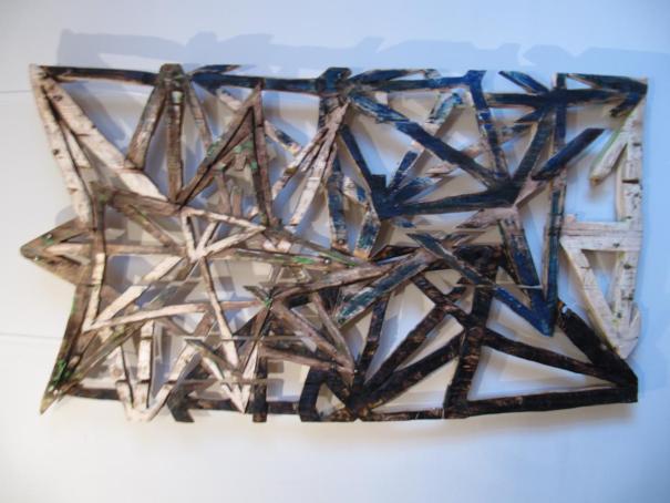Formes géométriques en Etoile-plateau de palette de livraison sculpté - œuvre murale - 70x120cm