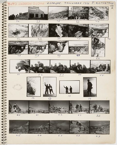 A notebook of Robert Capa with contact prints