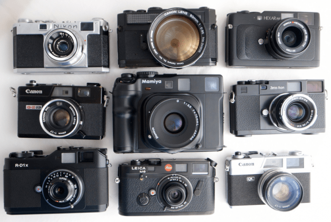 Rangefinders galore! Photo credit: Japan Camera Hunter