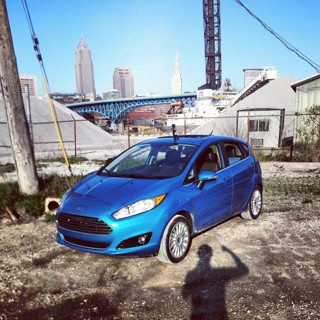 Photo of my fiesta in Cleveland. Unfortunately battery died when going through Cleveland with the GoPro. Note the GoPro mount on top of the car